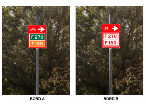 Test de nieuwe wegwijsborden voor snelfietsroutes online