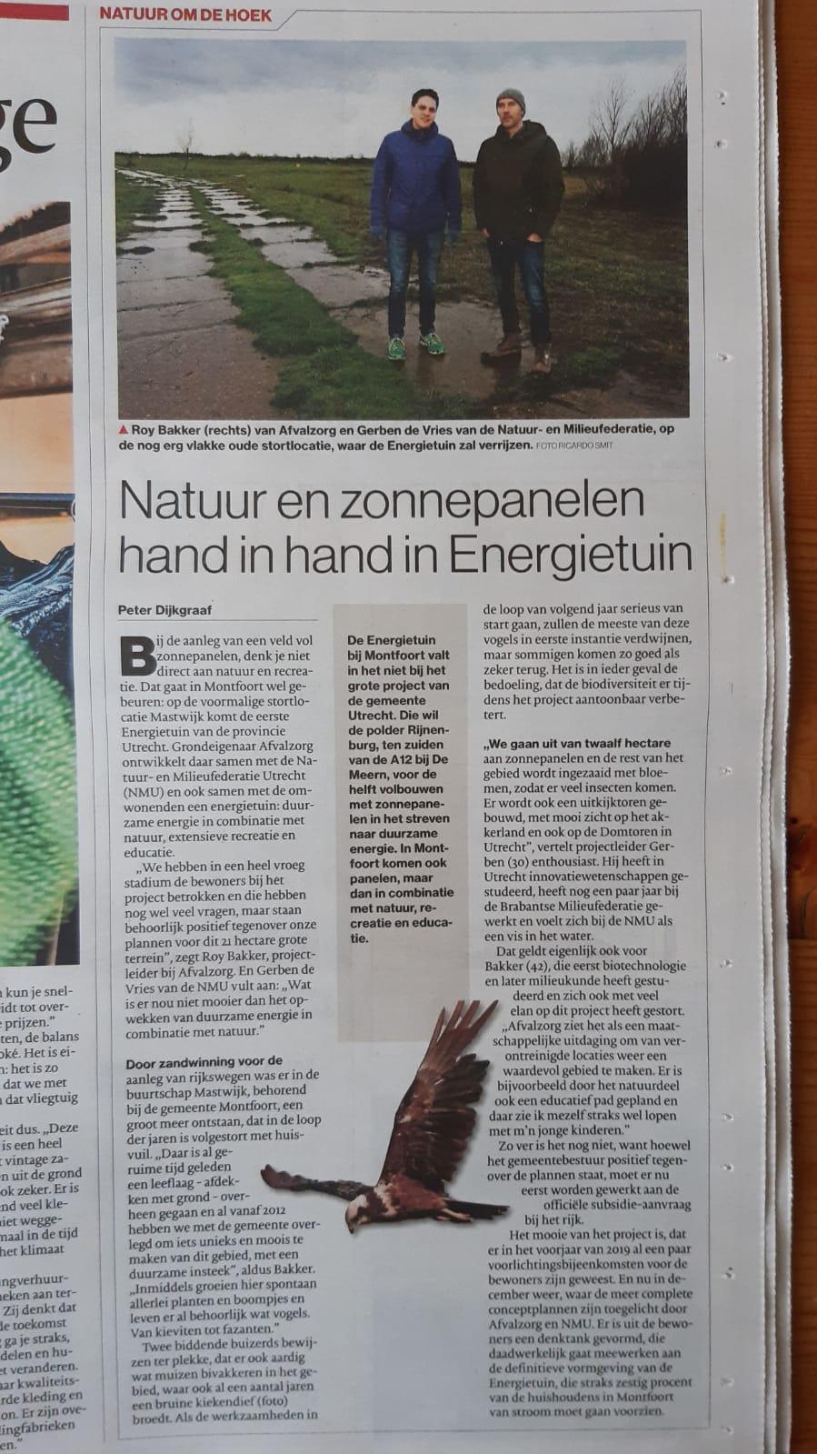Artikel over Energietuin Mastwijk in AD Groene Hart